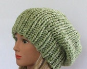 Chunky Knit Marbled Green Slouchy Beret Hat