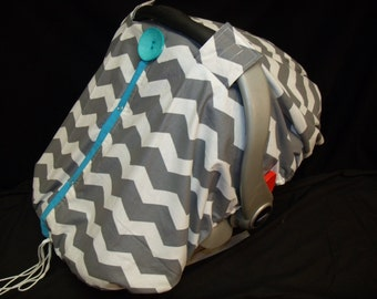 Carseat Canopy Chevron Fitted Drawstring Cover..Add this to any cover