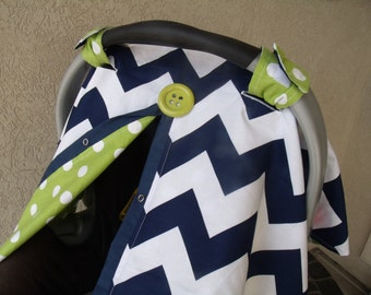Carseat Canopy Navy Chevron FREESHIPPING code carseat cover nursing cover