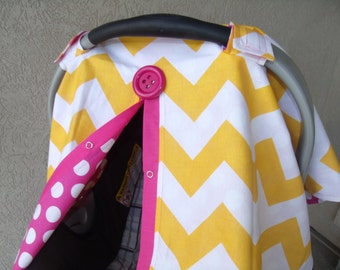 Carseat Canopy Yellow Chevron Hot Dot