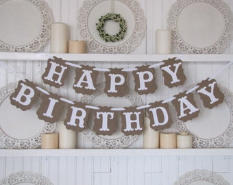 HAPPY BIRTHDAY  Banner, Birthday Party Sign, Happy Birthday Sign, Sweet 16, Baby's First Birthday, 40th Birthday, 50th Birthday