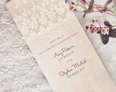 Rustic Lace Wedding Programs /// Vintage Elegant Romantic Linen Lace