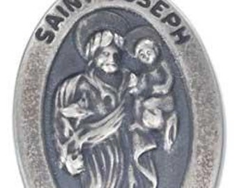 Saint Joseph with Infant Jesus Sterling Religious Medal Pendant Jewelry on 18 inch sterling silver rolo chain