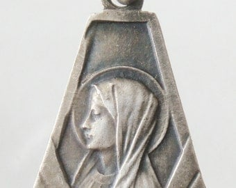 "Art Deco Antique Holy Mary of Lourdes Religious Medal on 18"" sterling silver rolo chain"
