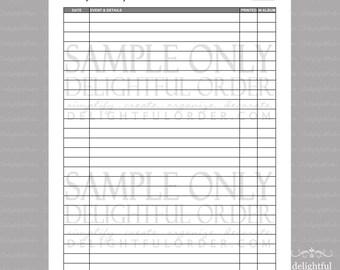 Photo Journal Log  - PDF Printable File - Instant Digital Download