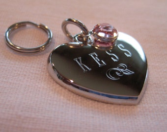 Pet ID Tag- Heart with Flower and Drop Channel