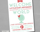 Welcome to the World Travel Invitation Baby Shower Sprinkle Sip and See Printable Invite