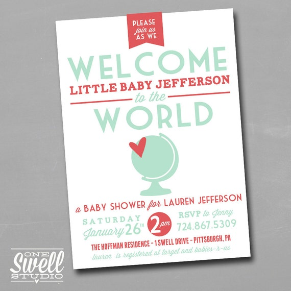 welcome to the world diy printable baby shower by oneswellstudio