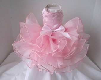 "Pink Rose  Princess Dog Dress  with Swarovski Crystals  By Nina's Couture Closet ""Exclusive  Line Bella """