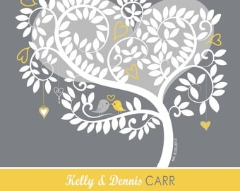 "Gray and Yellow Love Birdies 20"" x 20""  Wedding Tree Guest Book Alternative - Signature Tree - With 5"" x 7""  Instructions"