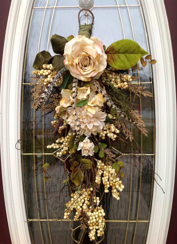 Spring Wreath Summer Wreath Teardrop Door Twig Swag Vertical