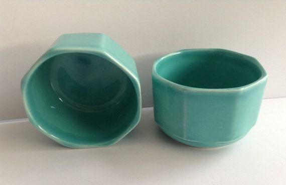 Tea Cups Turquoise Hexagon Vintage