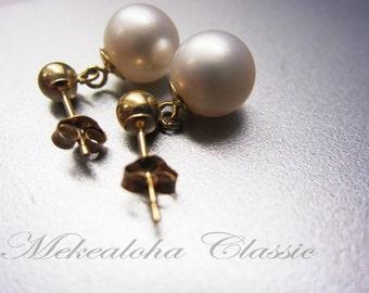 7.5-8mm Genuine Akoya Cultured Pearl earring 14k Gold, 1.8 grams