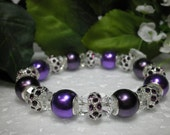 Beautiful Purple And Crystal Stretch Bracelet