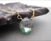 Green Quartz Solitaire Necklace in 14K Gold Fill, Satellite Chain Necklace, Simple Layering Gemstone Necklace