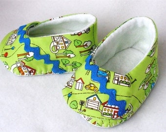 "Baby Shoes, Hand Sewn Boys Green Booties,  House Print Cotton Slip On Shoes,  Hand Stitched Baby Shoes,  ""In The Neighborhood"""