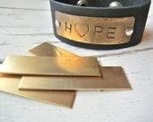 "BRASS Blank - 5/8"" x 2"" Metal Blank for Hand Stamped Jewelry- Use on Leather Cuffs or ID Bracelets- 22gauge - 6 Pack - Metal Stamping Blank"
