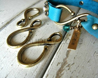 Leather Bracelet Clasp - Leather Finding - Clasp for Leather Wristband - ANTIQUE BRASS Finish Large Hook Clasp - Jewelry Clasp - 2 Pack