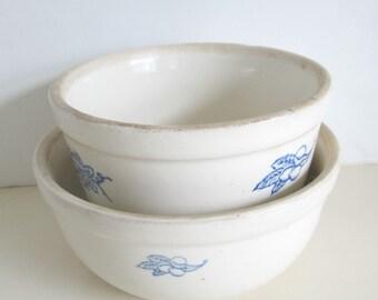 Crockery Mixing Bowls Set of Two Vintage Antique Farmhouse Cottage Chic