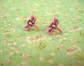 Pink Dragonfly Earring, Pink Dragonfly Post Earrings, Dragonfly Jewelry