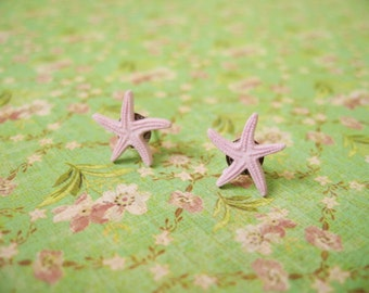 Light Purple Sea Star Earring, Button Earrings, Sea Shell Post Earrings