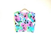 Floral Crop Top - Green. Pink. Blue. Black. Abstract. Hipster. 90s. Bright. VTG - Trend Shirt