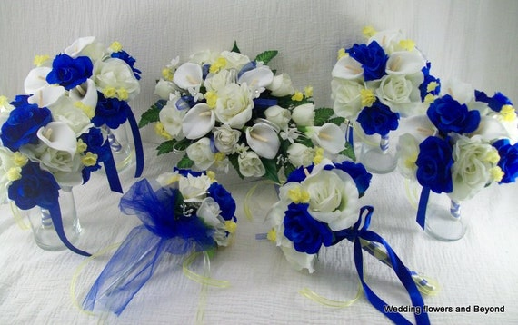 BLue AND YeLLoW WeDDiNG FLoWeRS MaDe To ORDeR 17 Peice BRiDaL