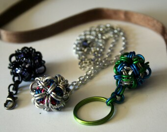 Dodecahedron Chainmaille Necklace, Zipper Pull or Keychain