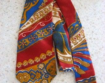 Vintage Macy's wool tie, bright colors w large paisley