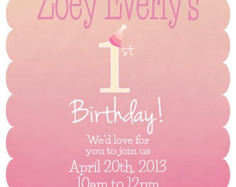 Watercolor First Birthday Invitation