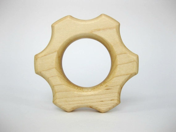 Wooden Gear Teething Ring, natural wood baby toy