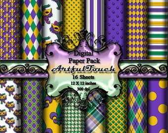"Digital Paper, Mardi Gras Digital Scrapbook Paper Pack, Mardi Gras Damask, 16 Digital Background, 12"" X 12"" - 300 DPI - INSTANT DOWNLOAD"