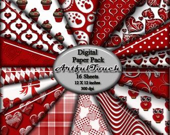 """Digital Paper Valentine Digital Scrapbook Paper Pack, 16 Valentine Red Damask (12"""" X 12"""" - 300 DPI) Paper Craft Card Making INSTANT DOWNLOAD"""