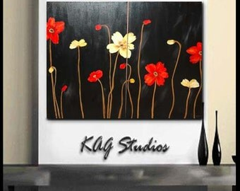 Extra Large Poppy Painting By Kag 3ft x 4ft