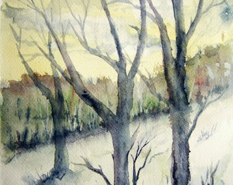 Original Watercolor landscape painting - 11X8 - Woodland Clearing,watercolor art,tree art country landscape woodland painting,meadow,field.