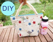 DIY Make-It-Yourself Insulated Lunch Bag Kit with Detailed Pattern - Blue Linen Birds