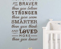 Winnie the Pooh Always remember you are braver than you believe baby quote vinyl wall decal