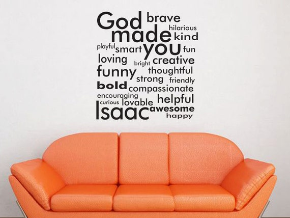God made you with personalized name wall decal