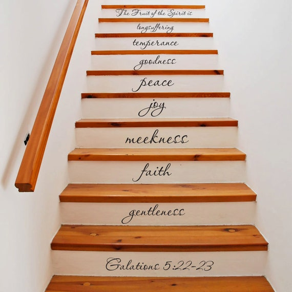 fruit of the spirit galatians 22 stair decals by grabersgraphics. Black Bedroom Furniture Sets. Home Design Ideas