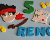 Fondant Pirate, Sword, Treasure Map and Coin Cake Decorations Perfect for your Little Pirate Party