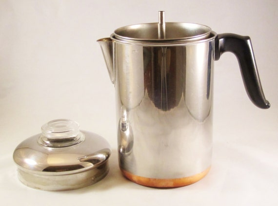 Vintage Stovetop Percolator Stainless Steel And Copper By