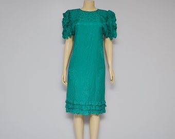 Vintage Emerald Green SILK DRESS size 4