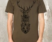 Men's T-Shirt with Elk, Wolf, Bear Totem - Screen Printed American Apparel - Available in S, M, L, XL and XXL
