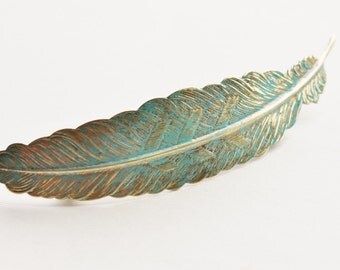 Patina Feather Barette, Large Verdigris Feather, You Chose - Barrette or Comb,Raw Brass,Hair Fascinator,Bridal,Weddings,Boho,Shabby Chic