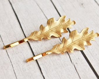 Golden Oak Leaf Hair Pins -Set of Two.Golden Brass Leaf.Bridal Hair Accessory.Weddings.Bridesmaids.Nature.Beach.Woodland.Shabby Chic