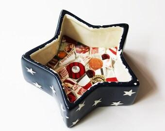 Patriotic Star Mosaic Ceramic Box