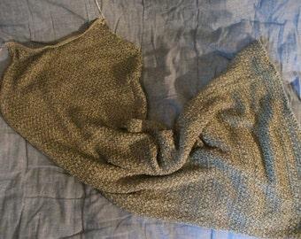 SALE-  body con DRESS, ITALIAN, grey,  pewter metallic thread, midi, size S, v stretchy