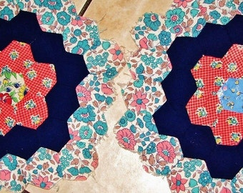 "Two 12"" Hexagonal Antique Quilt Blocks c 1920 Floral Patterns Red White Blues Hand Pieced"