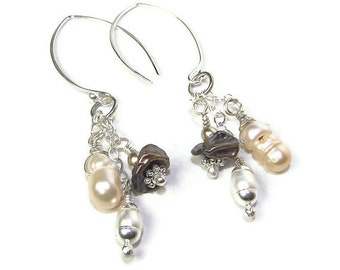 Natural Multi-colored Pearls & Sterling Silver Earrings E130