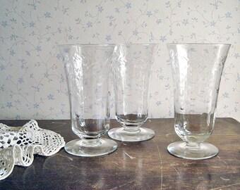 Vintage Etched Glass Goblets - Set of 3
